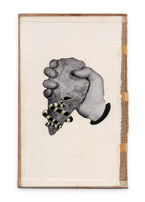The Hand, The Rock & The Snake I & II / Paper collage on old book cover